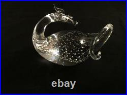 Steuben Art Crystal Dragon with Controlled Bubbles Figurine/Paperweight #8429