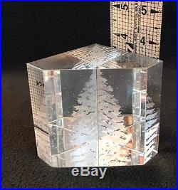 Steuben Art Glass Signed Snow Pine Engraved Paperweight Christmas Tree