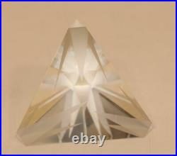 Steuben Crystal 2-3/4 Inch Nova Etched Rays Pyramid Paperweight Figurine 8365