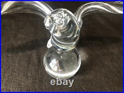 Steuben Glass Eagle on Sphere Wings Figurine Sculpture 8130 James Houston with Box