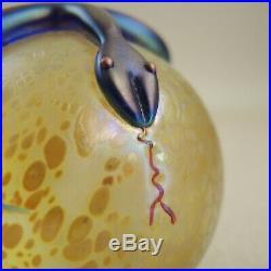 Steven Correia Art Glass Iridescent Snake Paperweight Serpent Orb Aurene Cobalt