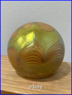 Steven Correia Signed Art Glass Paperweight Iridescent Gold Aurene Feather Style