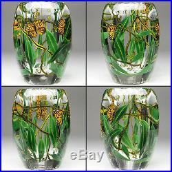 Steven Lundberg 1997 Studio Art Glass Butterfly Paperweight Vase