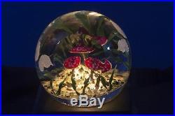 Steven Lundberg Glass Toadstool Trio Mushroom / Butterflies Paperweight