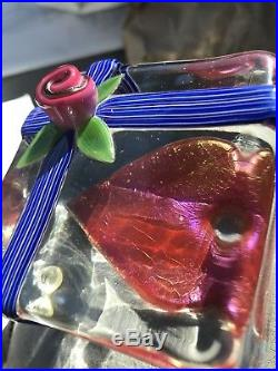 Steven Lundberg Rare OOAK Iridescent Red Heart In Crystal Box With Rose Signed