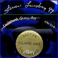 Steven Lundberg Studio Art Glass Red Butterflies Magnum Paperweight