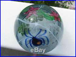 Striking CORREIA BLUE SPIDER/PINK FLORAL PAPERWEIGHT 3, Signed, Numbered, 1980