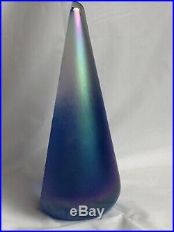 Stuart Abelman Art Glass Pyramid Iridescent Peacock Rainbow Cone Paperweight 91