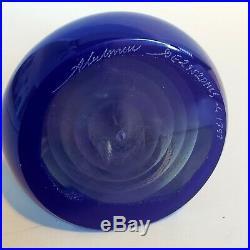 Stuart Abelman Geode Iridescent Art Glass Paperweight Pyramid Cobalt Blue Signed