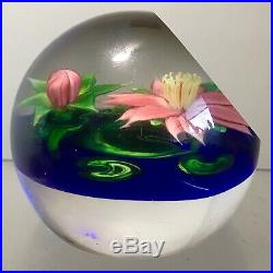 Studio Art Glass Paperweight Signed Steve Lundberg 1988 With Label