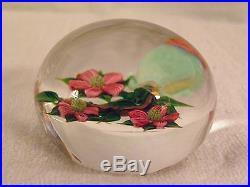 Studio Art Glass Paperweight by Debbie Tarsitano Torchwork Flowers Signed