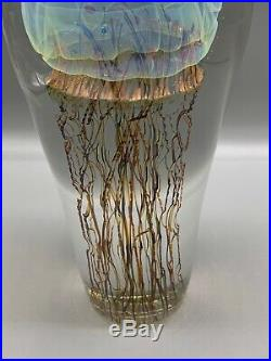 Studio Art Glass Sculpture Rick Satava Large 9 1/2 Passion Moon Jellyfish