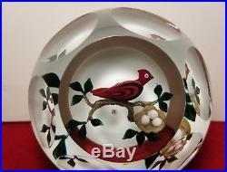 Stunning Bob Banford Multifaceted Cardinal Nest&eggs Art Glass Paperweight Bird