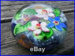 Stunning Glass Paperweight Flowers Unsigned