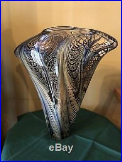 Stunning John Lotton Art Glass Paperweight Vase 1998 Blue 11