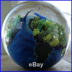 Stunning Large 3+ Josh Simpson Inhabited Planet Art Glass Paperweight