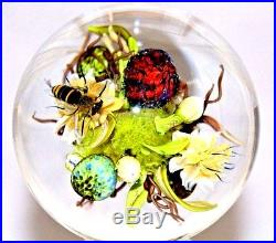 Stunning MAGNUM Paul STANKARD Glass WASP / Floral / ROOT SPIRITS Paperweight ORB