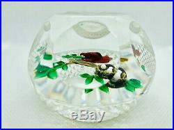 Stunning Ray Banford Multifaceted Paperweight Red Bird Nest With Eggs On Branch