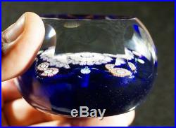 Stunning Vintage Perthshire Cobalt Glass Paperweight With Miniature Millefiori
