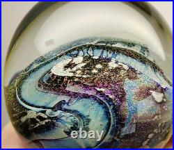 Stunning Vintage Robert Eickholt 1987 signed art glass dichroic paperweight