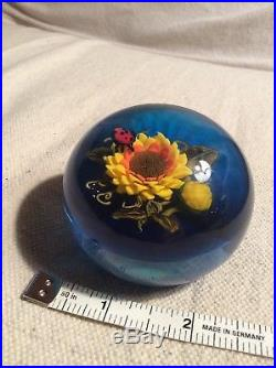 Sunflower and Lady Bug Ken Rosenfeld Paperweight outstanding signed