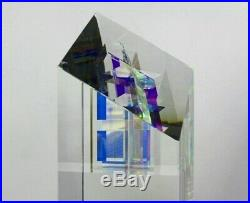 TOLAND SAND Dichroic Archit I Glass Sculpture/Paperweight, Apr 3.9Wx4Lx11.25H