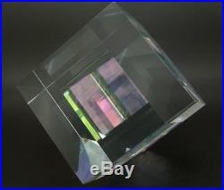 TOLAND SAND Dichroic Cube Prism Art Glass Sculpture/Paperweight, Apr 3.9Wx6.5H