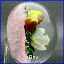 TRABUCCO Beautiful Flowers Art Glass Unique 1998 Paperweight, Apr 2.7Hx3.5W