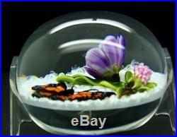 TRABUCCO Butterfly & Purple Flowers Art Glass 1998 Paperweight, Apr 2.75Hx3.25W