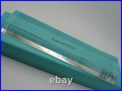 Tiffany & Co. Crystal Glass Paperweight Ruler in Tiffany Pouch and Box