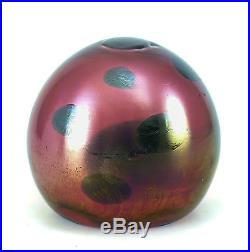Tiffany Favrile Art Glass Paperweight, Spotted, Iridescent, c1920 with Makers Mark