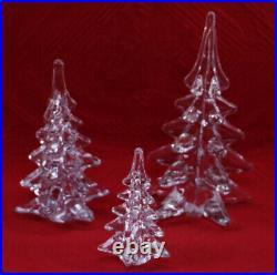 Trio (3) Art Glass / Crystal Christmas Tree Figurines 4.5 6.5 & 8