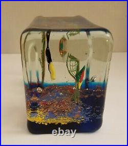 VENETIAN MURANO GLASS BLOCK AQUARIUMFISH AVENTURESCENCE and SEA PLANTSITALY