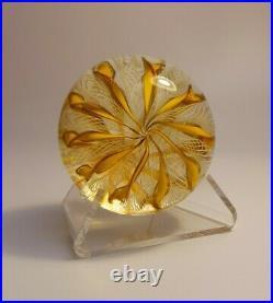 VINTAGE 1950's MURANO STICKER ART GLASS LATTICINO GOLD YELLOW RIBBON PAPERWEIGHT