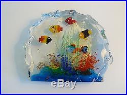 Vintage Italian Art Glass Fish Aquarium Murano Paperweight Sculpture Paper Label