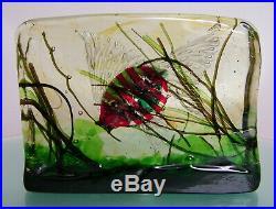 VINTAGE MURANO GLASS BLOCK AQUARIUM FISH PAPERWEIGHT 1950's VENETIAN ART GLASS