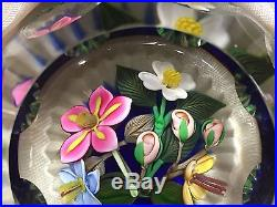 VINTAGE PERTHSHIRE PAPERWEIGHT 3-D BOUQUET LAMPWORK ART GLASS FACETED withBOX RARE