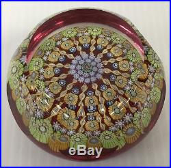 VINTAGE PERTHSHIRE PAPERWEIGHT FACETED MILLEFIORI TWIST CANES ART GLASS BOX RARE
