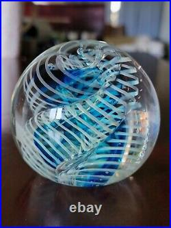 VINTAGE ROLLIN KARG ART GLASS PAPERWEIGHT Blue SWIRL WITH BUBBLE SIGNED Rare