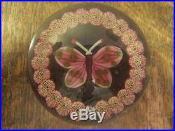 Vintage Signed Paul Ysart Glass Butterfly Paperweight