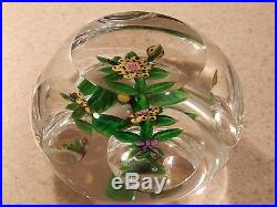 VINTAGE STUDIO ART GLASS FACETED PAPERWEIGHT CANE ARTIST SIGNED UNKNOWN 3 1/4