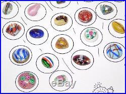 Vtg Atq 42 Goldstone Venetian Millefiori Floral Art Glass Paperweight Buttons