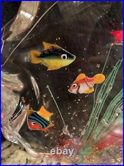 VTG Authentic MURANO Aquarium Paperweight/Decor 8T By 7W
