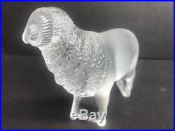 VTG LALIQUE French Clear Crystal Art Glass Ram Sculpture Paperweight Signed