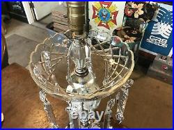 VTG Mid Century St. Clair Art Glass Hand blown Paperweight Lamp w Crystal Prisms