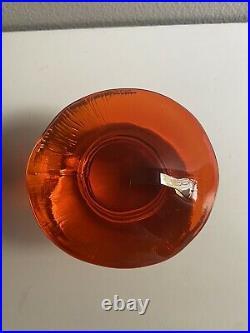 VTG Pair VIKING Glass Mushrooms Paperweights Persimmon And Green MCM Retro