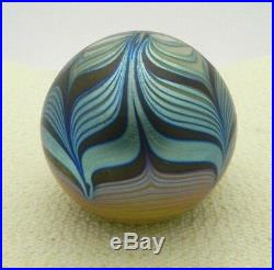 VTG STEVEN CORREIA PAPERWEIGHT Iridescent Blue Gold Black Pulled Feather 3 1977