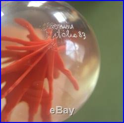 Venini Signed Fire or Coral Egg Art Glass Paperweight Art Object. 99 No Reserve