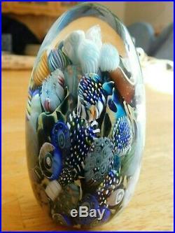 Vermont Blown Glass Egg Shaped Michael Egan Signed Art Glass Paperweight 2009