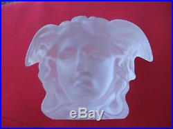 Versace Rosenthal German Frosted Crystal Medusa Paperweight/art Glass Sculpture